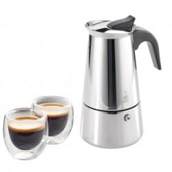 """GEFU Комплект стоманена кафеварка за( 4 бр кафета)""""EMILIO"""" и (2 бр) двустенни чаши за еспресо"""