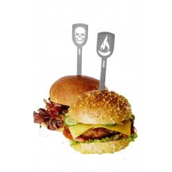 """GEFU Комплект от 2 бр. шишчета от стомана за хамбургери или месо """"TORRO"""" - череп и пламък"""