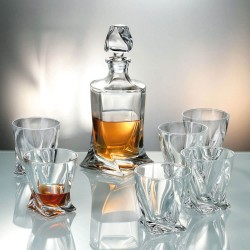 Кристален комплект за Уиски 7 части Quadro, Bohemia Crystalite