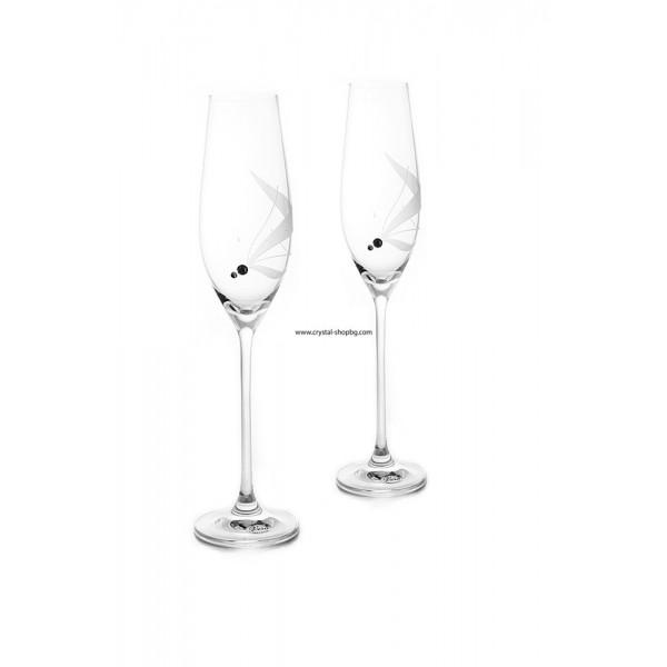 Сватбени чаши за шампанско с камъни Swarovski 210мл - 2 броя BOHEMIA