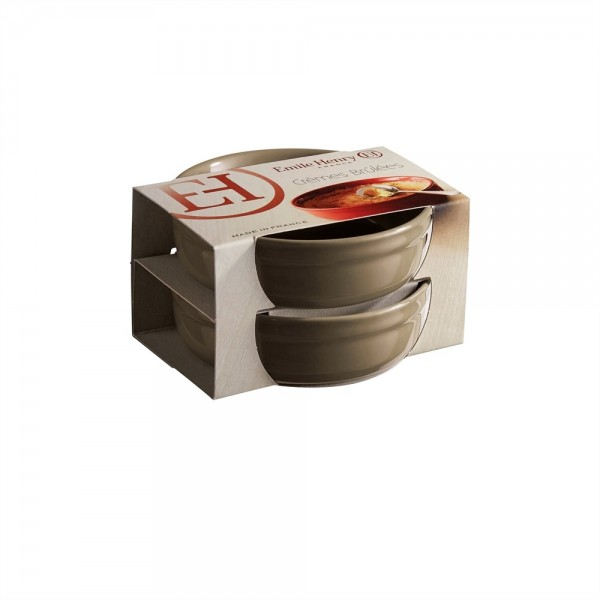 "EMILE HENRY Комплект 2 броя керамични купички за крем брюле ""2 CRÈME BRÛLÉES RAMEKINS SET""- сиво-бежов"