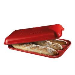 """EMILE HENRY Керамична форма за печене на багета """"BAGUETTE BAKER"""" - 39,5 х 23 см - червен"""